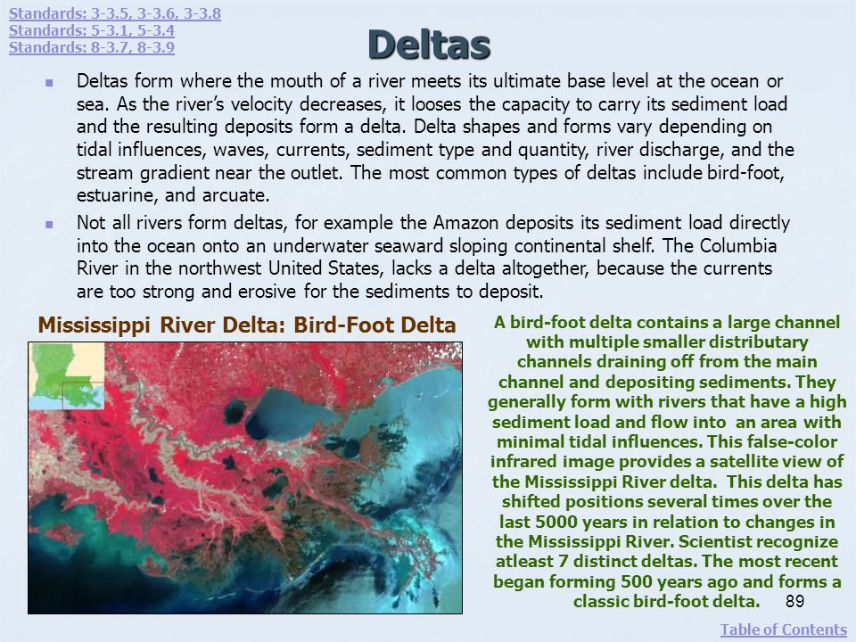 Deltas Mississippi River Delta: Bird-Foot Delta