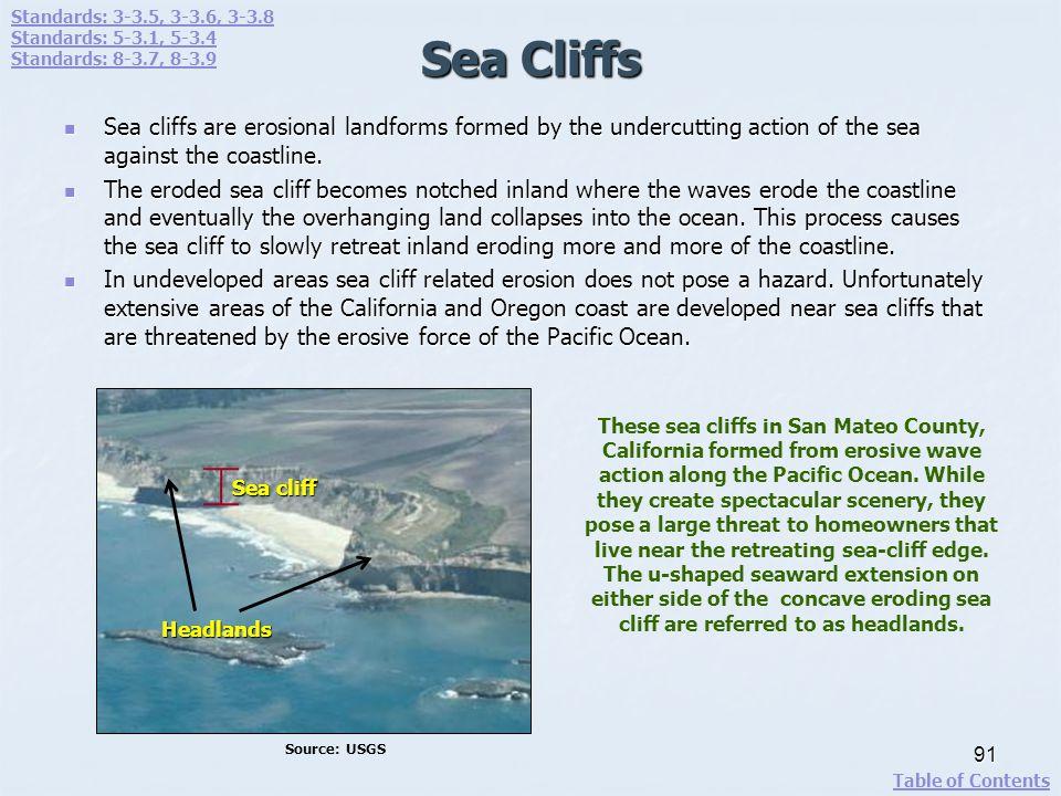 Standards: 3-3.5, 3-3.6, 3-3.8 Standards: 5-3.1, 5-3.4. Standards: 8-3.7, 8-3.9. Sea Cliffs.