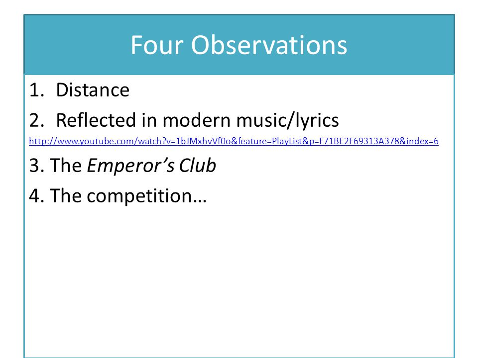Four Observations Distance Reflected in modern music/lyrics