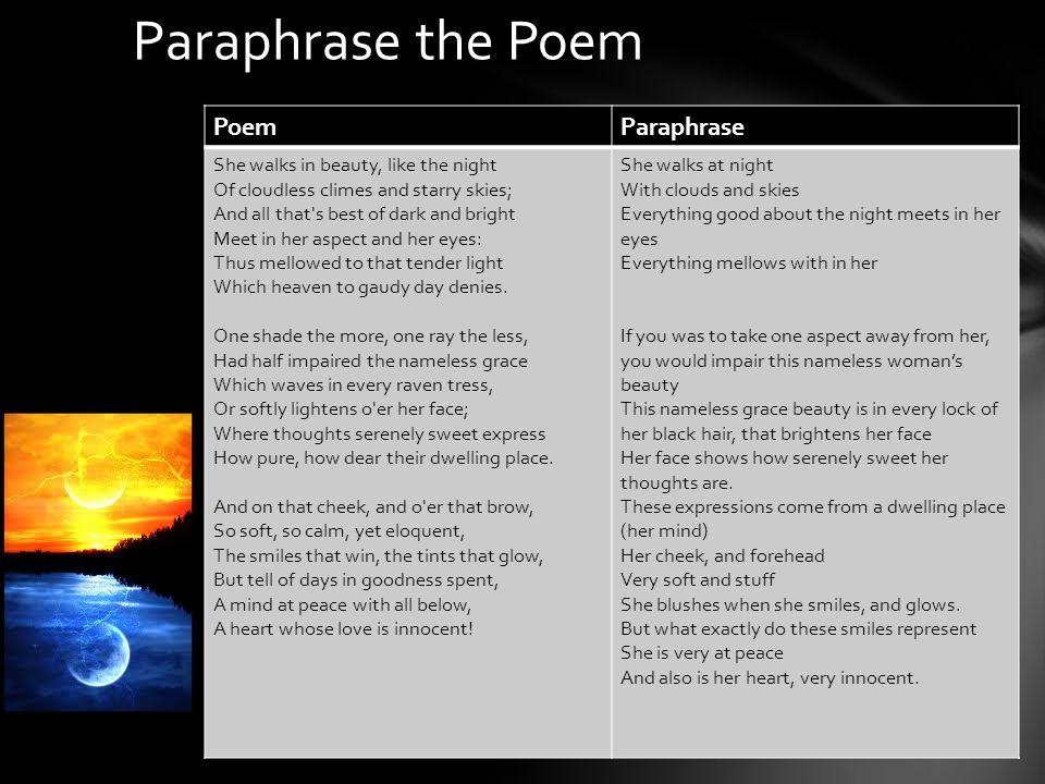 Paraphrase the Poem Poem Paraphrase