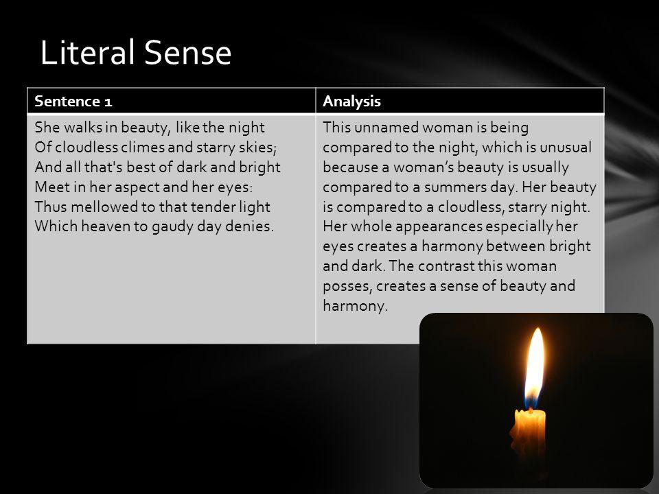 Literal Sense Sentence 1 Analysis