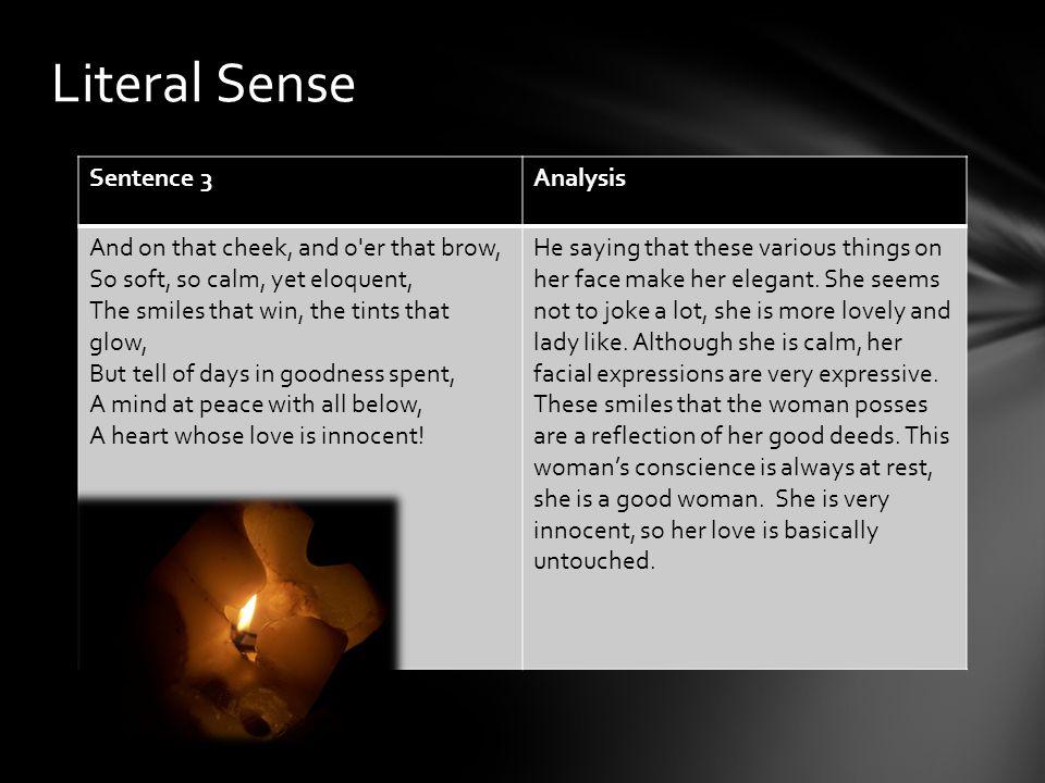 Literal Sense Sentence 3 Analysis