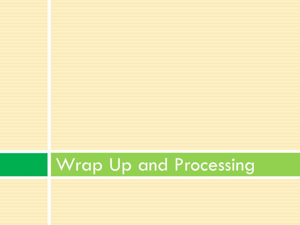 Wrap up and Processing is a vital part of any project or learning