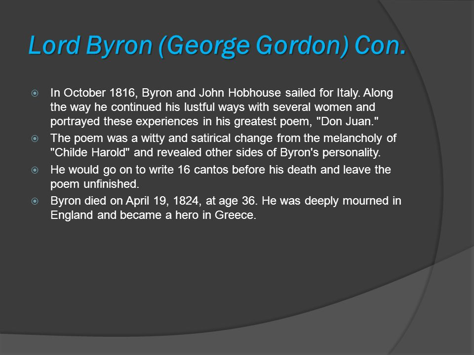 Lord Byron (George Gordon) Con.