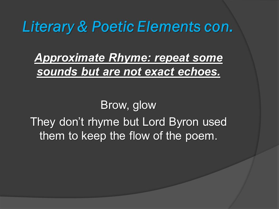 Literary & Poetic Elements con.