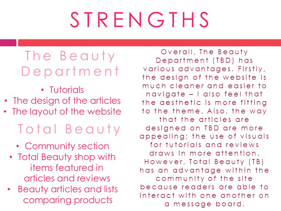 STRENGTHS The Beauty Department Total Beauty Tutorials