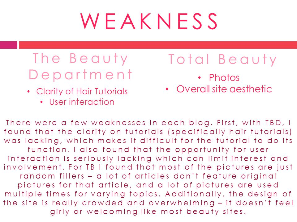 WEAKNESS The Beauty Department Total Beauty Photos