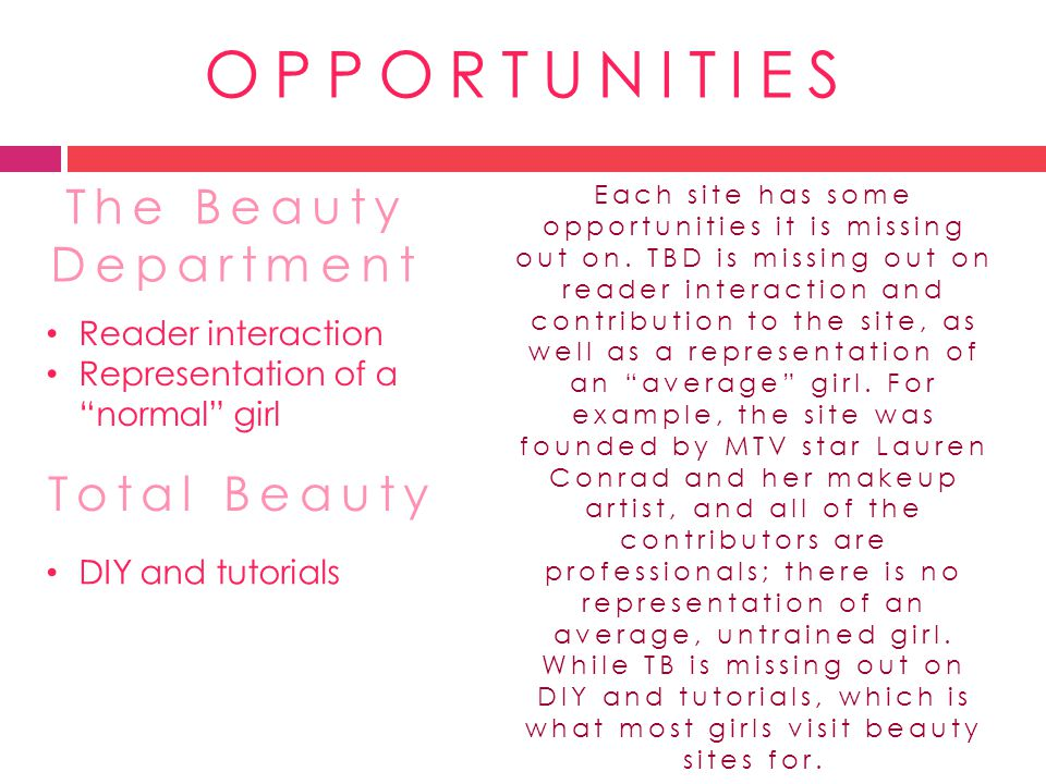 OPPORTUNITIES The Beauty Department Total Beauty Reader interaction