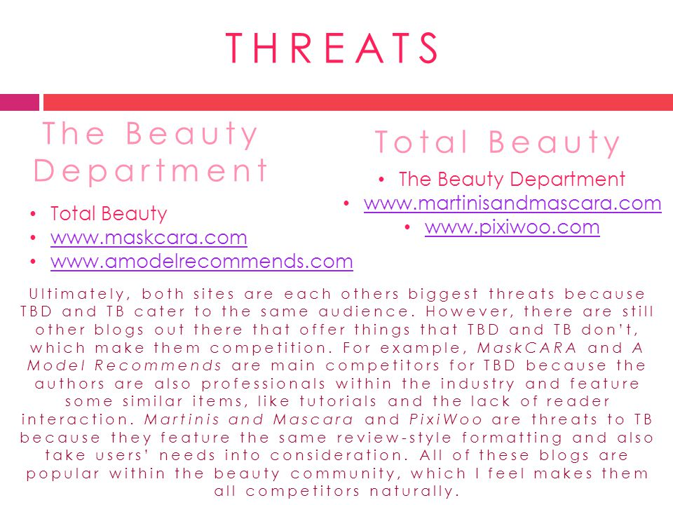THREATS The Beauty Department Total Beauty The Beauty Department