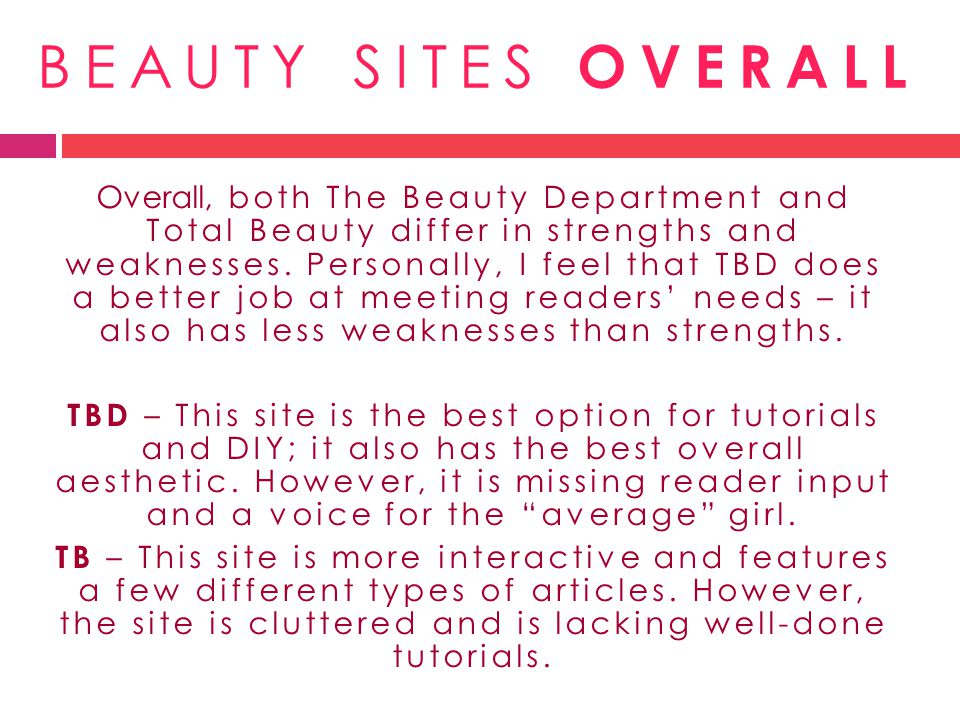 BEAUTY SITES OVERALL