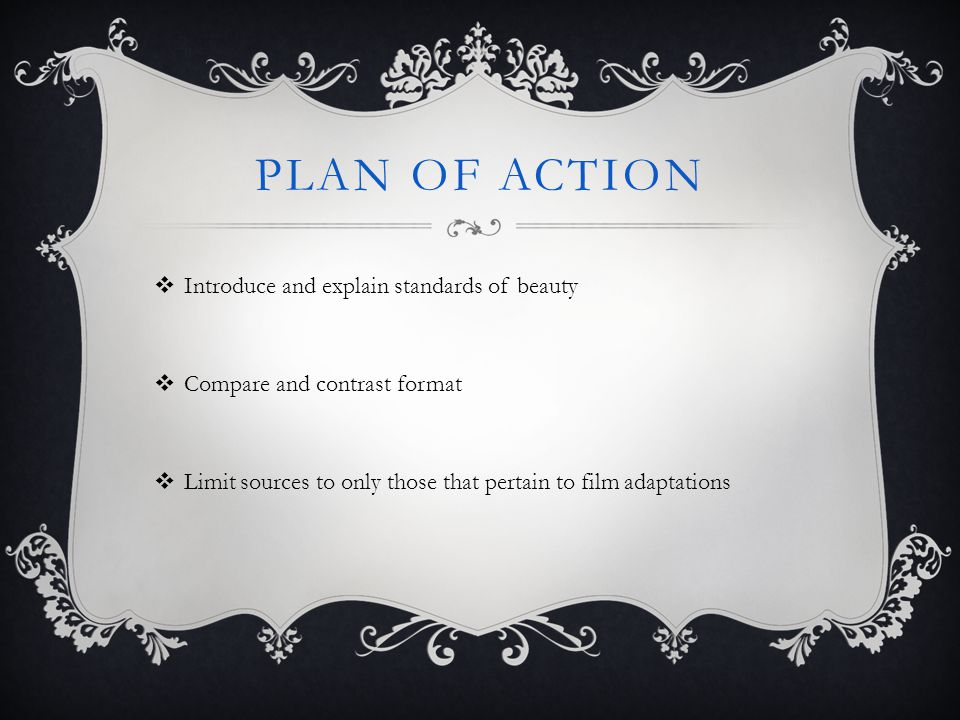 Plan of action Introduce and explain standards of beauty