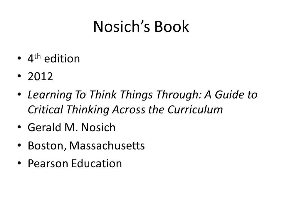 Nosich's Book 4th edition 2012