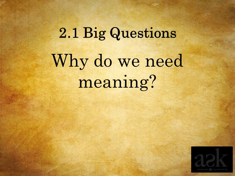 2.1 Big Questions Why do we need meaning