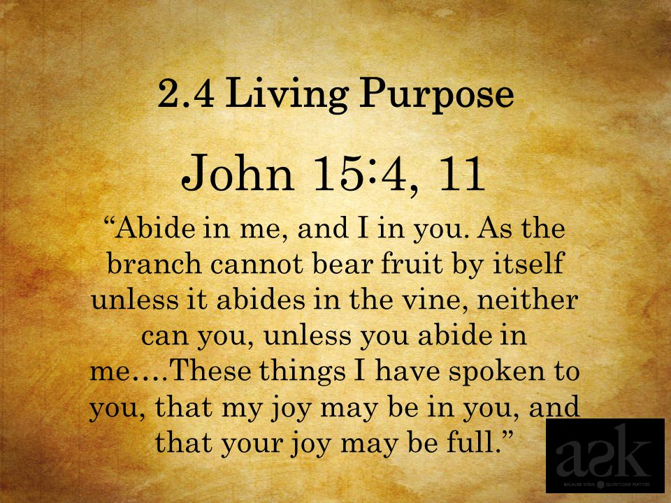 2.4 Living Purpose John 15:4, 11.