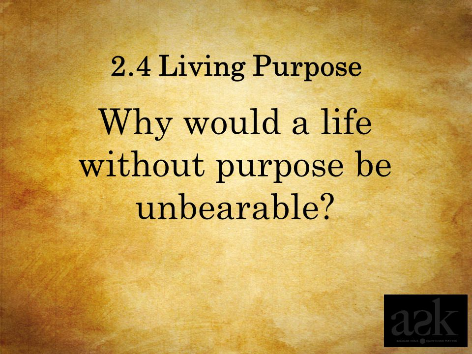 Why would a life without purpose be unbearable