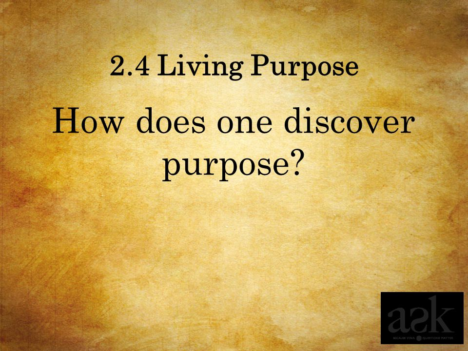 How does one discover purpose