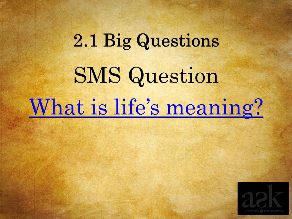 SMS Question What is life's meaning