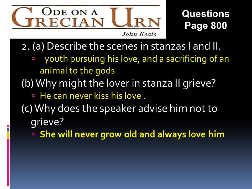 2. (a) Describe the scenes in stanzas I and II.