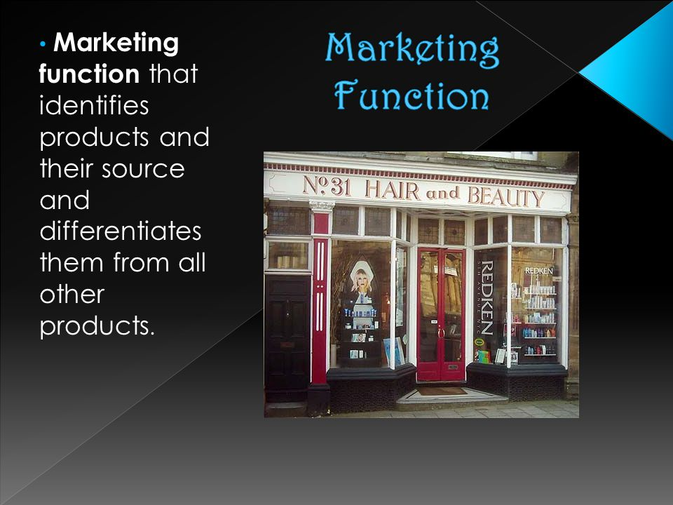 Marketing function that identifies products and their source and differentiates them from all other products.