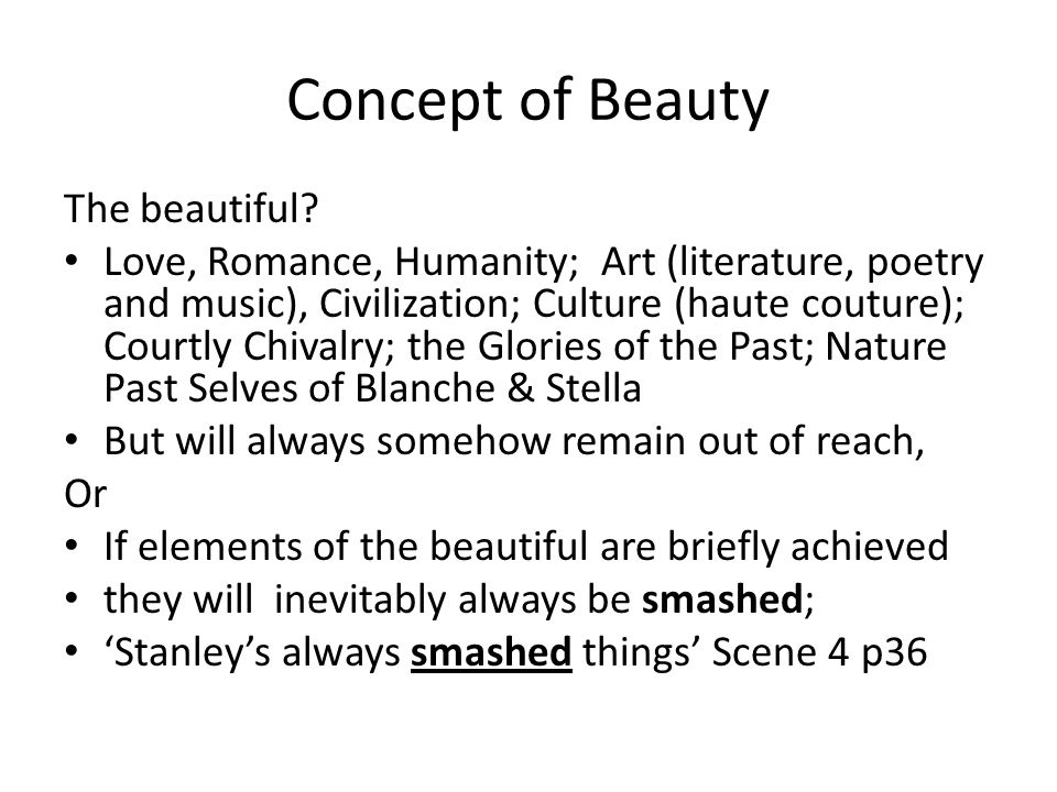 Concept of Beauty The beautiful
