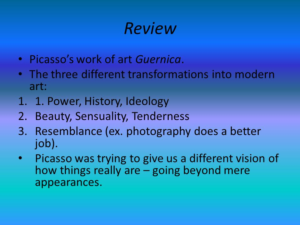 Review Picasso's work of art Guernica.