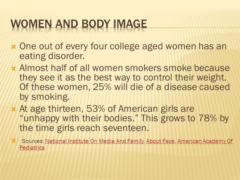 Women and body image One out of every four college aged women has an eating disorder.