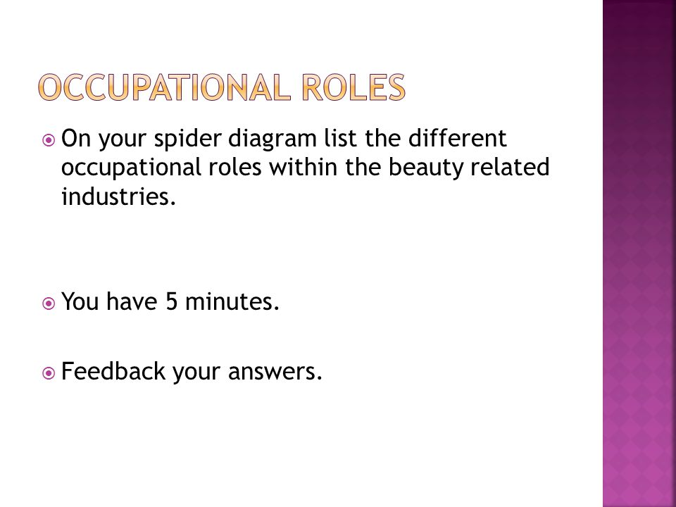 Occupational roles On your spider diagram list the different occupational roles within the beauty related industries.