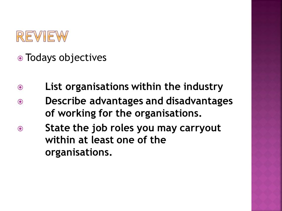 Review Todays objectives List organisations within the industry