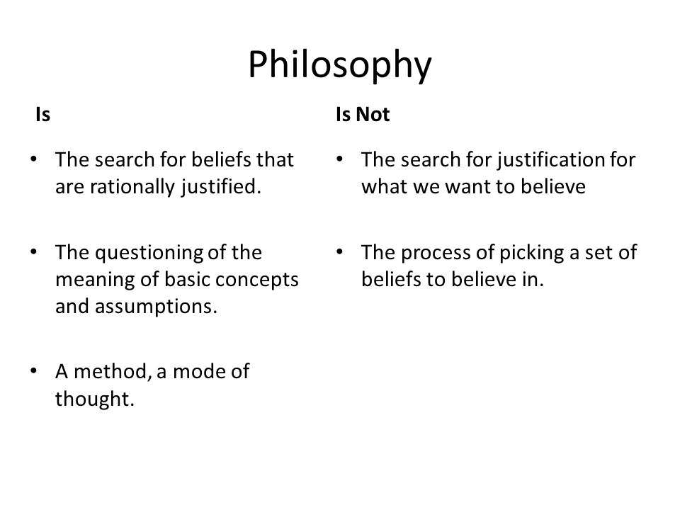 Philosophy Is. Is Not. The search for beliefs that are rationally justified. The questioning of the meaning of basic concepts and assumptions.
