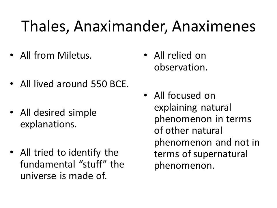 Thales, Anaximander, Anaximenes