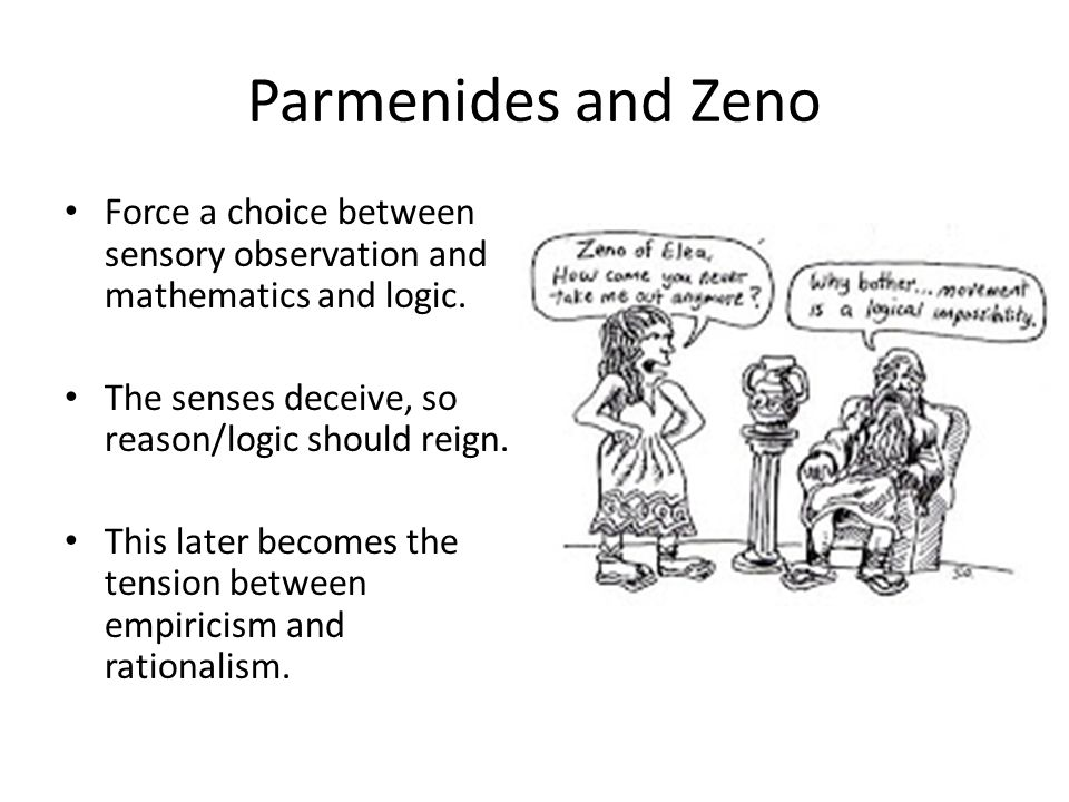 Parmenides and Zeno Force a choice between sensory observation and mathematics and logic. The senses deceive, so reason/logic should reign.