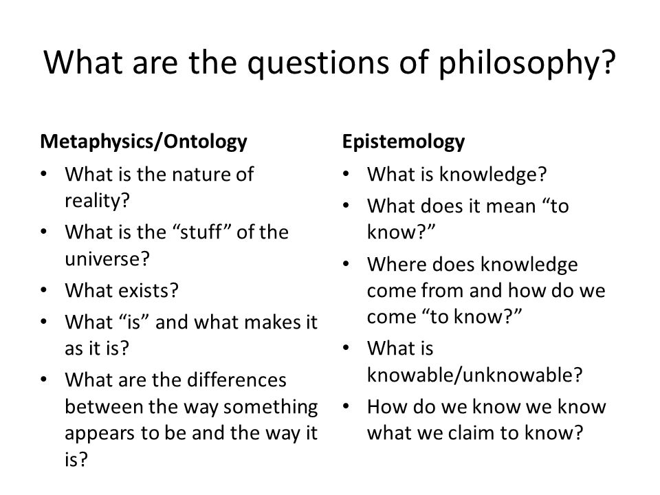 What are the questions of philosophy