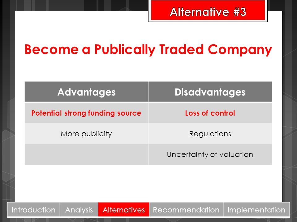 Become a Publically Traded Company Potential strong funding source