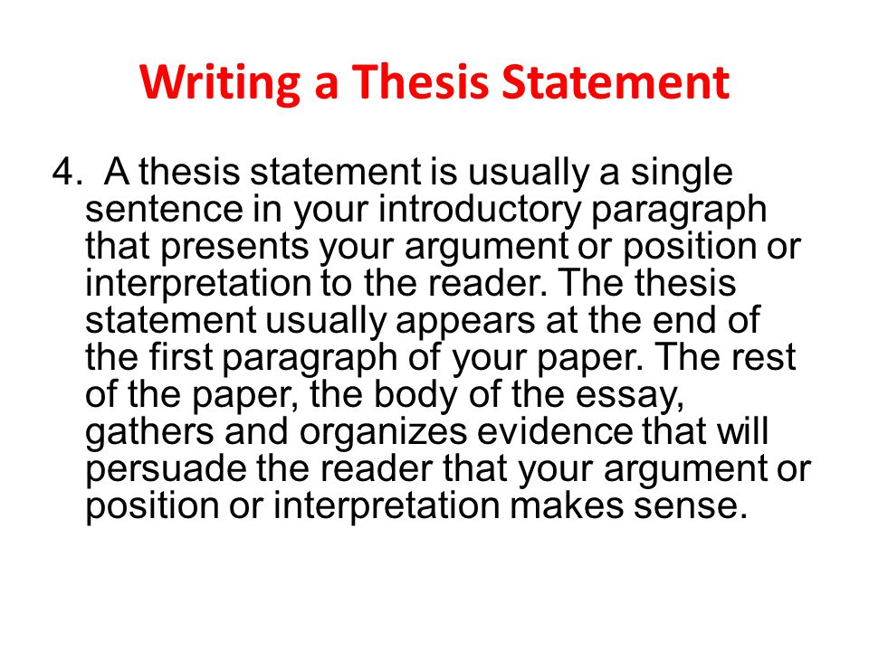 The best placement of your thesis statement is