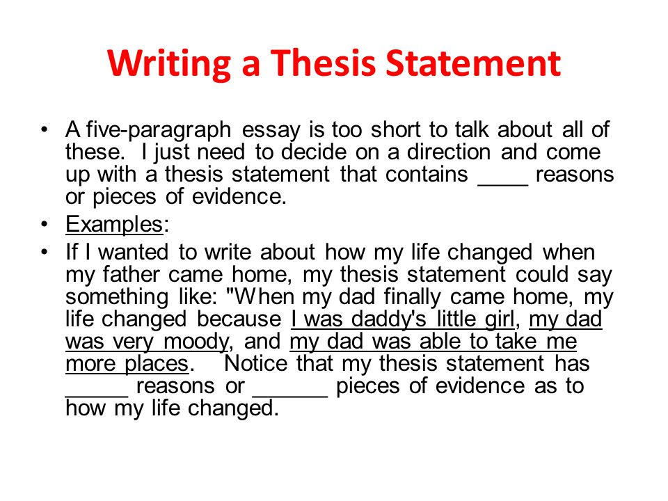 I need help writing a thesis statement paper