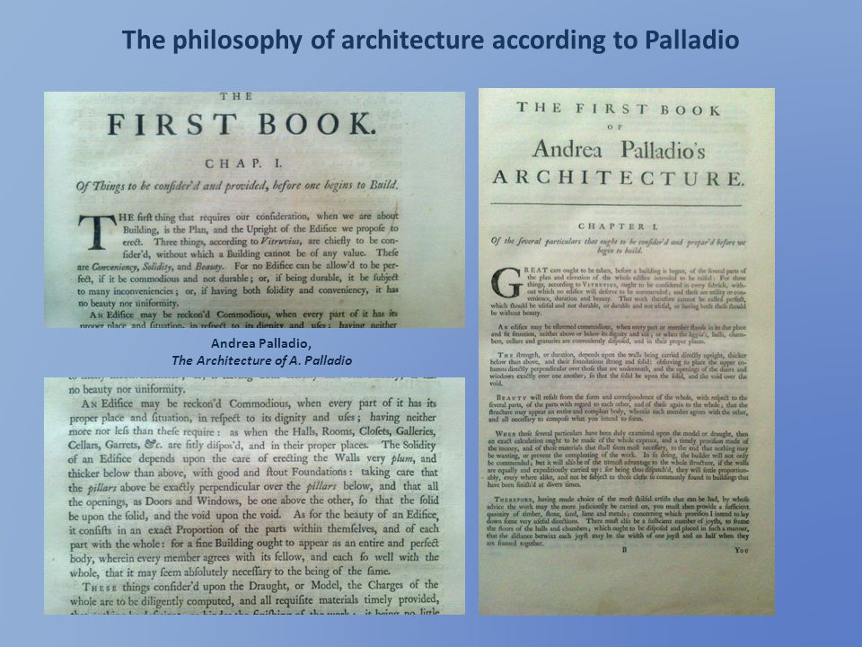 The philosophy of architecture according to Palladio