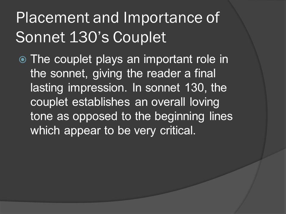 Placement and Importance of Sonnet 130's Couplet