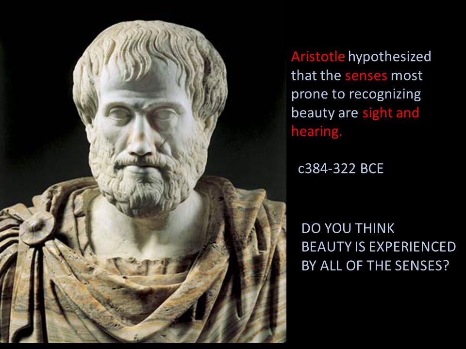 Aristotle hypothesized that the senses most prone to recognizing beauty are sight and hearing.