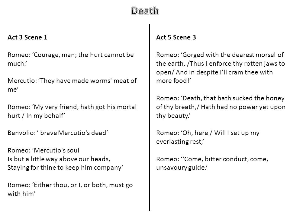 Death Act 3 Scene 1 Romeo: 'Courage, man; the hurt cannot be much.'