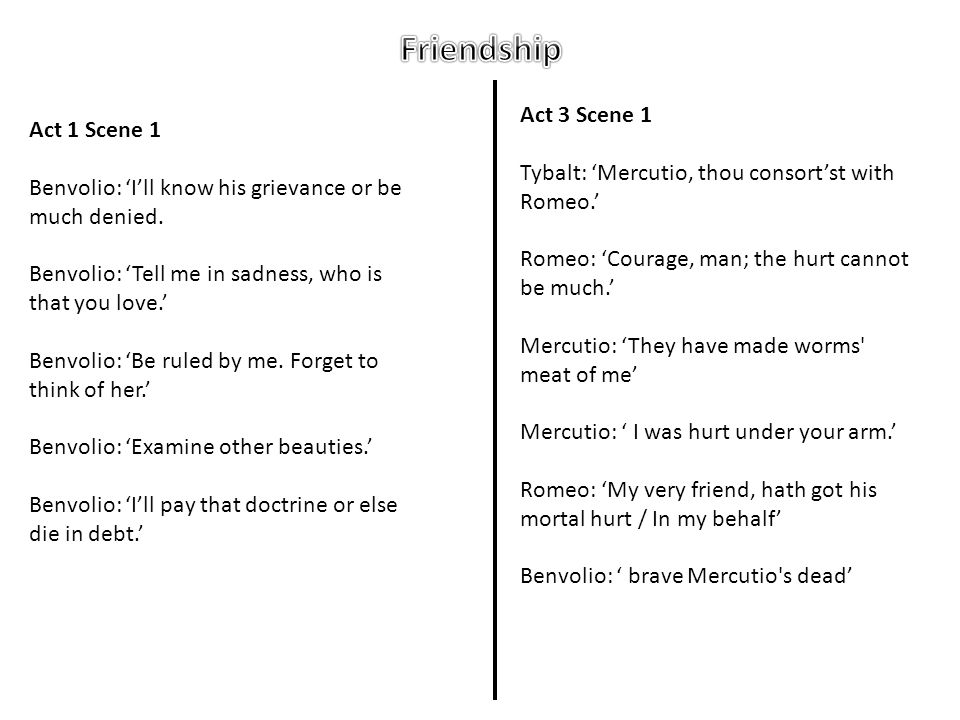 Friendship Act 3 Scene 1 Act 1 Scene 1