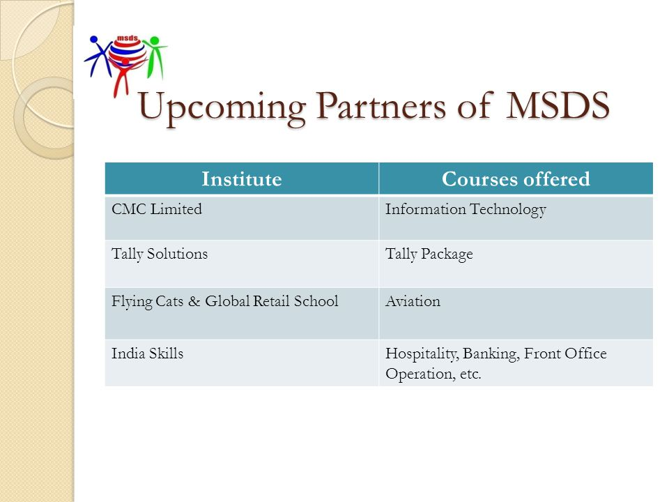 Upcoming Partners of MSDS