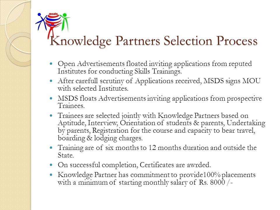 Knowledge Partners Selection Process