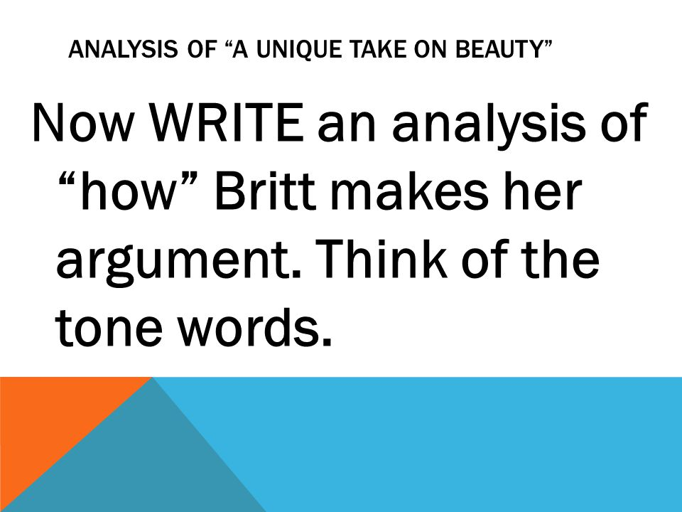 Analysis OF a UNIQUE TAKE ON BEAUTY