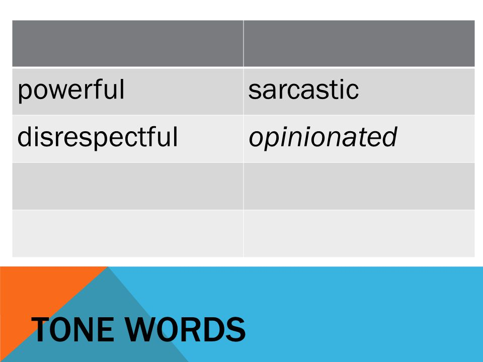 powerful sarcastic disrespectful opinionated TONE WORDS