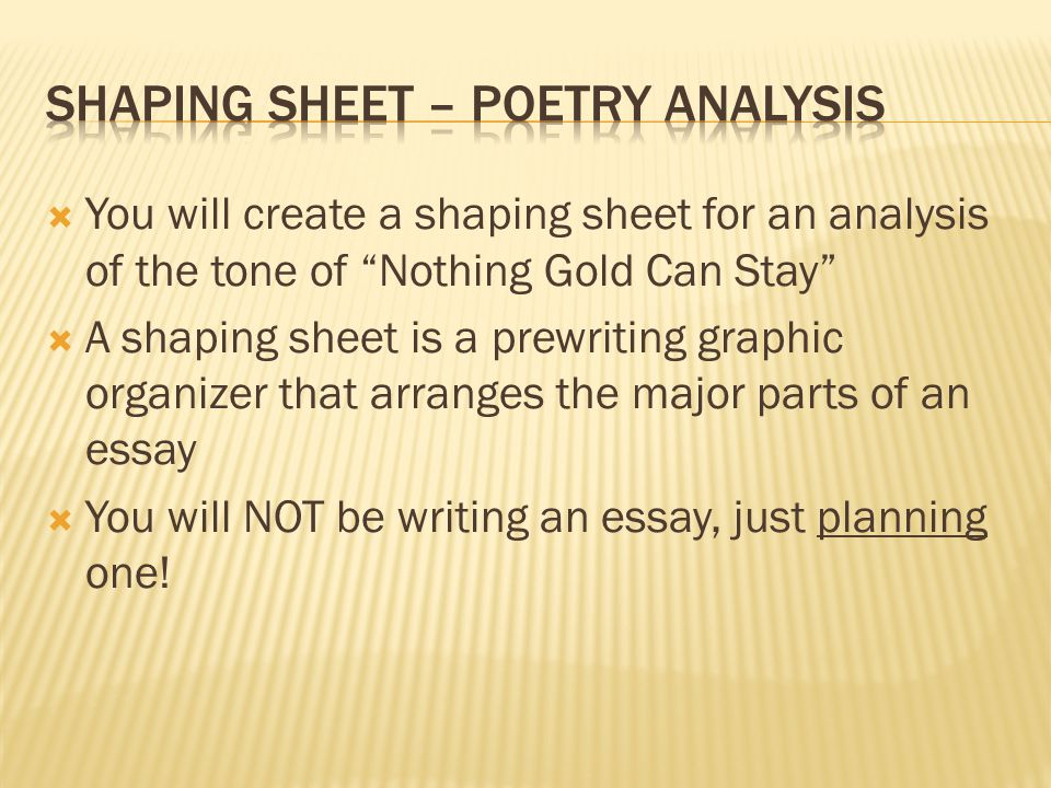 Shaping sheet – poetry analysis