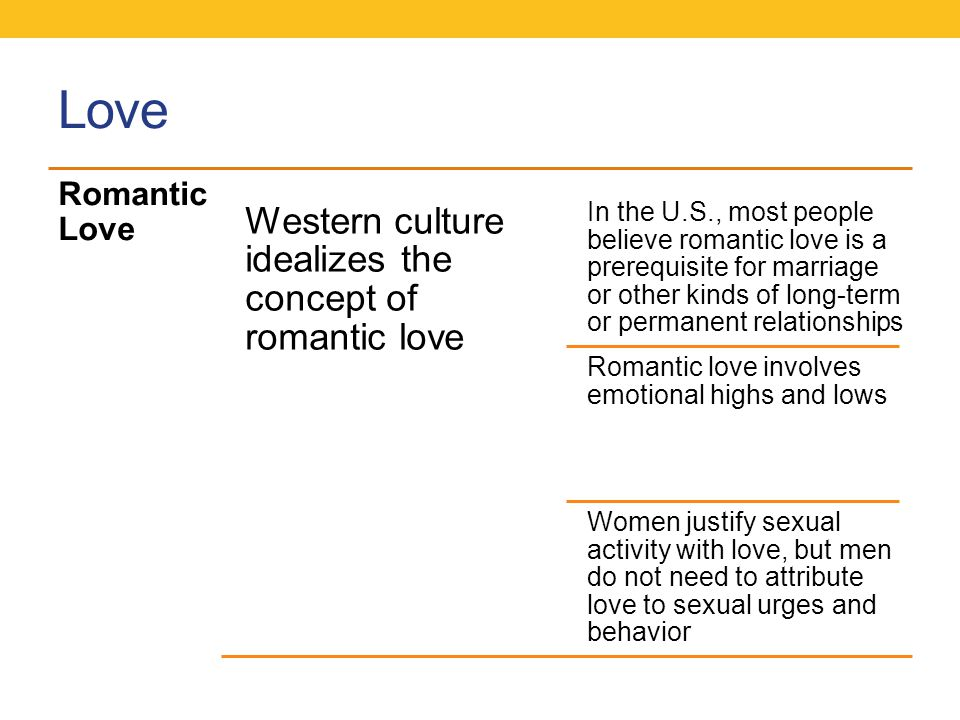 Love Western culture idealizes the concept of romantic love