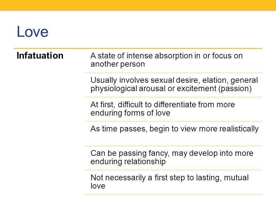 Love Infatuation. A state of intense absorption in or focus on another person.