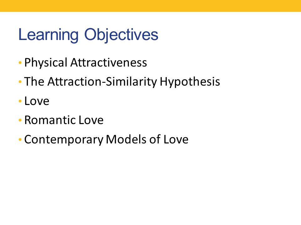 Learning Objectives Physical Attractiveness