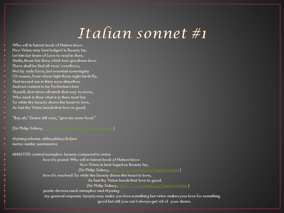 Italian sonnet #1 Who will in fairest book of Nature know