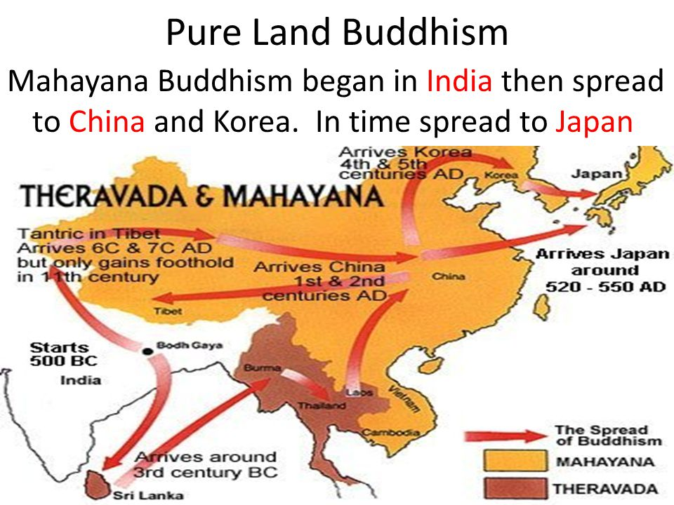 Pure Land Buddhism Mahayana Buddhism began in India then spread to China and Korea.